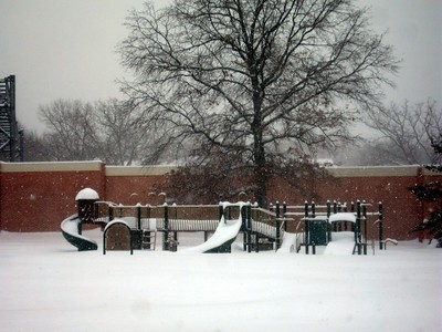 Playground at the Lee Center during the peak of the blizzard conditions (1:52pm on Wednesday, Feb. 10)