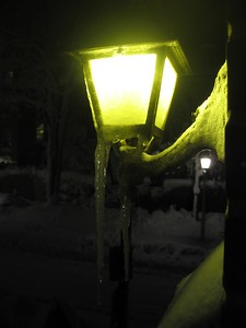 My porch light (6:34pm on Saturday, Feb. 6)