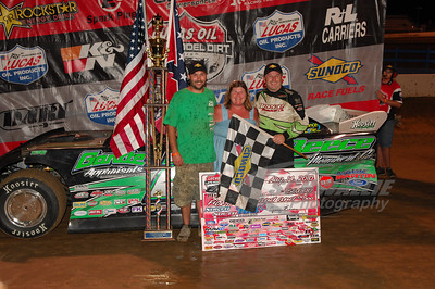 Jimmy Owens and crew chief Chris Fox in Victory Lane for the 28th Annual Sunoco Race Fuels North/South 100 @ Florence Speedway