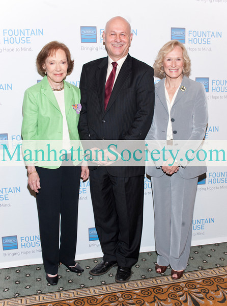"NEW YORK-MAY 3: Rosalynn Carter, Kenn Dudek, President, Fountain House Inc, Glenn Close attend   SEVENTH ANNUAL FOUNTAIN HOUSE SYMPOSIUM AND LUNCHEON: ""Voices & Visions: Understanding and Treating Psychosis - New Research, New Hope"" on Monday, May 3, 2010 at The Pierre Hotel, 2 East 61st Street, New York City, NY (PHOTO CREDIT: ©Manhattan Society.com 2010 by Christopher London)"