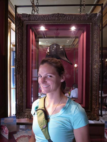 trying on napoleon's hat, café procope