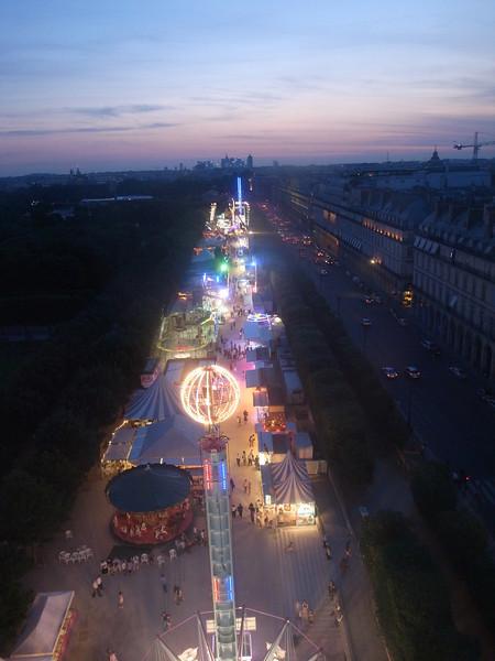 sunset from the ferris wheel, tuileries gardens, paris