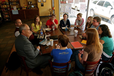 Religious Studies class meeting at the Broad River Coffee shop across the street from GWU's Main campus.