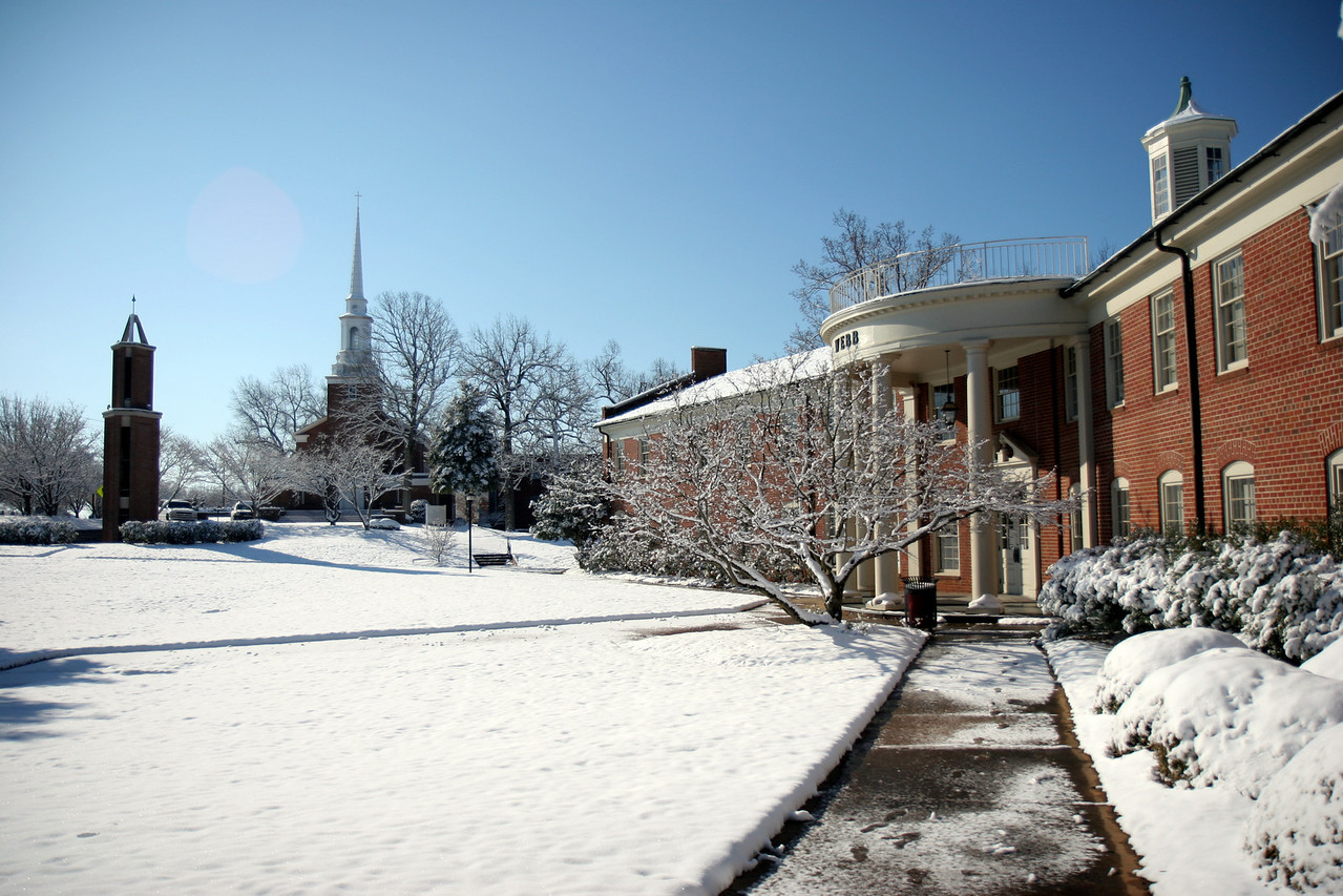 The Tower of Light, the Chapel, and Webb Hall. Feb 13, 2010.