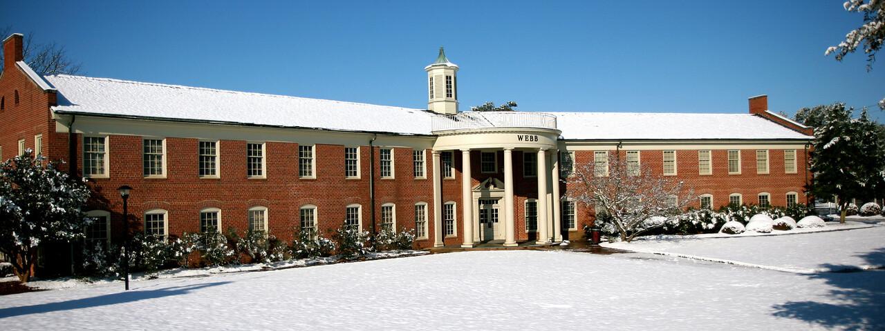 Webb Hall in the snow. Feb 13, 2010.
