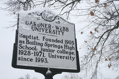 Gardner-Webb's historical sign outside Dover Chapel is still readable through the ice.