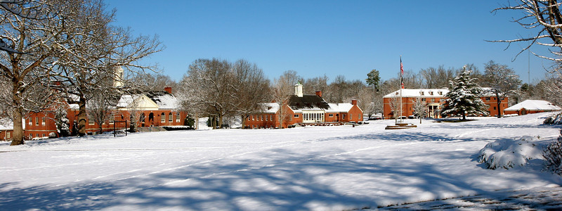 A look across the quad. In view, Craig Hall, O. Max Gardner Hall, and Stroup Dormitory. Feb 13, 2010.