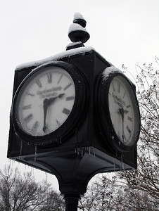 The clock outside the DCC sports icicles Saturday afternoon.