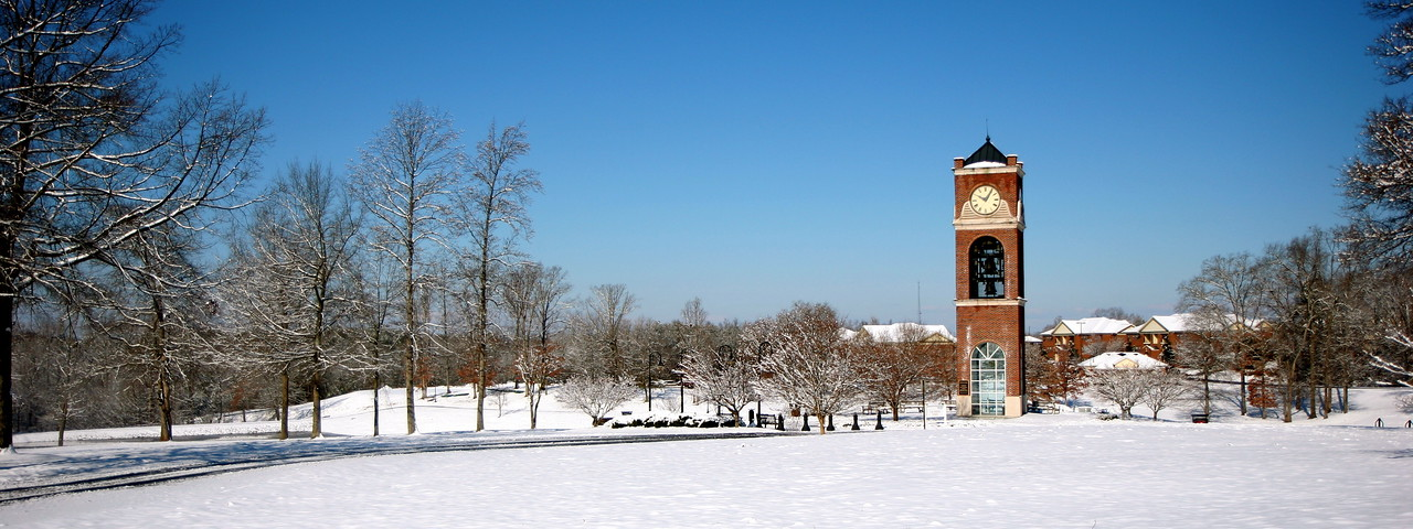 A view of the bell tower in the snow. Feb 13, 2010.