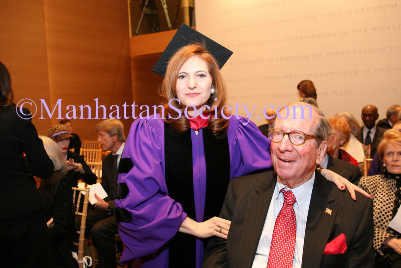 NEW YORK-FEBRUARY 23: Hunter College President Jennifer J. Raab, Former New York State Senator Roy M. Goodman attend ceremony and reception at HUNTER COLLEGE Honoring New York City leaders FELIX and ELIZABETH ROHATYN with honory doctorates of human letters on Tuesday, February 23, 2010 at ROOSEVELT HOUSE Public Policy Institute at HUNTER COLLEGE, 47-49 East 65th Street, between Park and Madison Avenues in New York City, NY. (PHOTO CREDIT:  ©Manhattan Society.com 2010 by Karen Zieff)