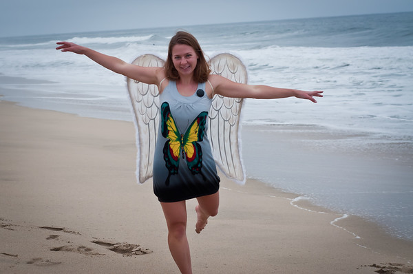Model: Susannah Oberdorf, Outtakes Gallery Taken on August 1, 2010 in Half Moon Bay, CA  Susannah brought props with her, which made the shoot more fun. Here she pulled out the wings to go with her butterfly dress!