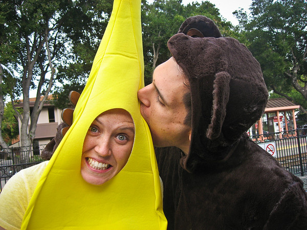 Monkies like to eat bananas.  Sasha's face is amazing in this.