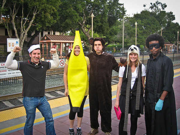 In Menlo Park waiting for the Halloween Beer Train to start!  From left to right: Popeye (Aaron), Banana (Sasha), Monkey (Jason), Panda Bear (Sammi), The Dark Doctor (Dehj)