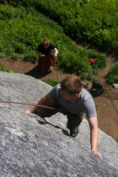 Mads works his way up <i>Zig-Zag 5.9</i> in Archangel Valley.