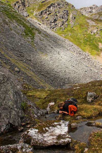Tracy takes a moment to enjoy the pristine nature of Hatcher Pass, sipping water directly from a cold mountain stream.