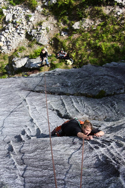 Tracy Borland works her way up the slab of <i>Voodo Child 5.10</i>.