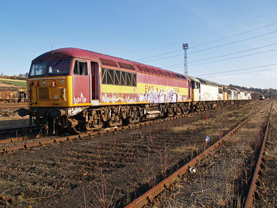 56119 Heads the line of 56s at Healy Mills 31/01/10