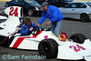 Owner Lee Brahin prepares to take his Hesketh 308 onto Lightning Raceway.<br /> <br /> ©Sam Feinstein