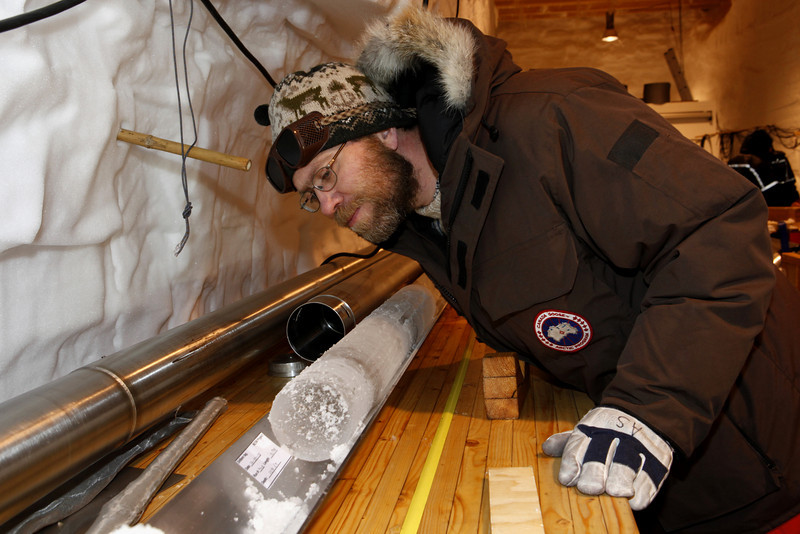 Careful inspection of some of the deeper ice. Notice the stone filled dark bands.