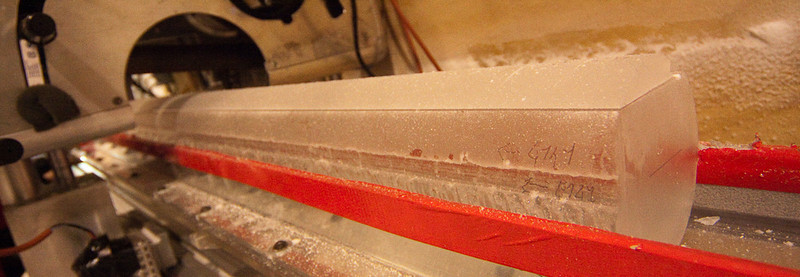The core is cut into several sub-samples for multiple different measurements<br /> <br /> Photo: Tim Burton