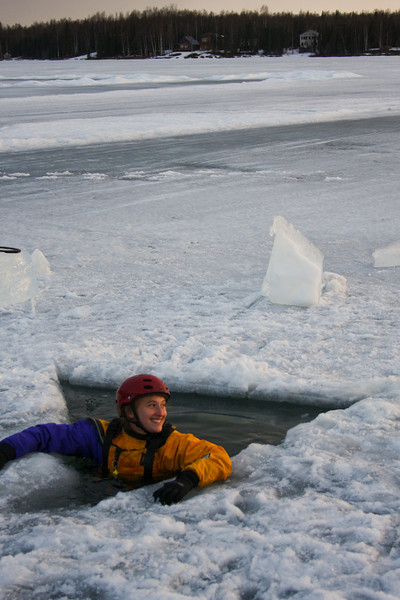 Tracy waits her turn to be rescued from our hole in the ice.