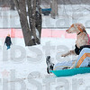 Tribune-Star/Joseph C. Garza<br /> Dog sled: Fannie Mae and her owner, Courtney Edwards, slide down the hill at Deming Park Thursday.