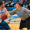 Tribune-Star/Joseph C. Garza<br /> Hands on experience: Jordan Altman, the Indiana State men's basketball graduate assistant,  works with Aaron Carter during the team's open practice Oct. 16, 2009 at Hulman Center.
