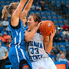 Tribune-Star/Joseph C. Garza<br /> Converting the steal: Indiana State's Kelsey Luna goes up against Creighton's Ally Jensen after Luna stole the ball in the second half of the Sycamores' 55-44 loss Thursday at Hulman Center.