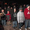 Tribune-Star/Joseph C. Garza<br /> Howling for awareness: James Wallace, left, leads a group howl as Cub Scouts from Ryves Youth Center at Etling Hall, William Millspaugh, Steven Trimble, Jeremy Trimble and Eric Holtsclaw follow his lead Thursday on Wabash Avenue.