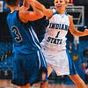 Tribune-Star/Joseph C. Garza<br /> Inbound pressure: Indiana State's Brittany Schoen tries to steal the ball from Creighton's Kelsey Woodard in the second half of action Thursday at Hulman Center.