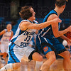Tribune-Star/Joseph C. Garza<br /> Reaching for the turnover: Indiana State's Kelsey Luna guards Creighton's Kelsey Woodard in the final minutes of the Sycamores' game against the Jays Thursday at Hulman Center.