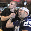Yeah: T.J. King (L) and Joe Kirchner celebrate as the Colts take the lead for the first time in Sunday's game against the Jets. The two are watching the event at BW3's.