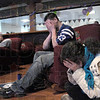 Ahhhhhhhhh: Rose-Human students react to first half play against the Colts and Jets during Sunday's playoff game.