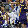 Runner: Indiana State's #3, Rashad Reed takes the ball to the basket during first half action against Northern Iowa Sunday afternoon.