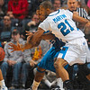 Tribune-Star/Joseph C. Garza<br /> Return to sender: Indiana State's Isiah Martin slaps away a bounce pass intended for Creighton's Wayne Runnels during the Sycamores' win Friday at Hulman Center.