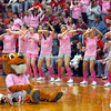 Pretty in pink: Pink, not red, was the dominate color in the Marshall stands Friday night at their basketball game with West Vigo. A fundraiser for the Susan G. Komen Foundation  that included the selling of the pink t shirts netted around $1,500.