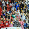 Happy times: Terre Haute South fans cheer near the end of their girls game with rival North Friday night.