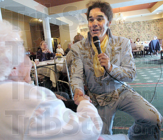 Personal: Bruce Borders performs as Elvis during Fridays 75th birthday celebration of Elvis' life.