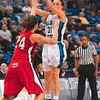Tribune-Star/Joseph C. Garza<br /> An open opportunity: Indiana State's Kelsie Cooley takes an open jump shot over Illinois State's Emily Hanley during the Sycamores' game against the Redbirds Friday at Hulman Center.