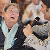 Sing-along: A Cobblestone Crossings resident sings with Bruce Borders during his show Friday afternoon.