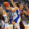 Driving force: Kelsey Luna drives around Saluki defender Katie Wagner for two points.