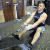 Workout: Devan Vilbrandt does a workout at the Anytime Fitness Center located at 7th and Springhill Saturday afternoon.