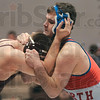 Terre Haute North's David Knight grapples with Bloomington North's Jake Vandeventer during their 215-pound match Saturday in the Northview sectional in Brazil.