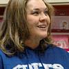 Colts fan: Jennifer Baker buys Colts snacks at Baesler's Market Friday afternoon.