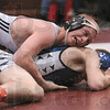 """A """"Mat""""-ter of control: West Vigo's Levi Edwards tries to maintain control of Bloomington South's Dru Spires during their 119-pound sectional championship match Saturday at the Northview sectional in Brazil. Edwards won the match."""