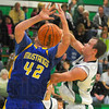 Tough D: Cody Thornton blocks a shot attempt by Fountain Centrals Andrew Stockdale.