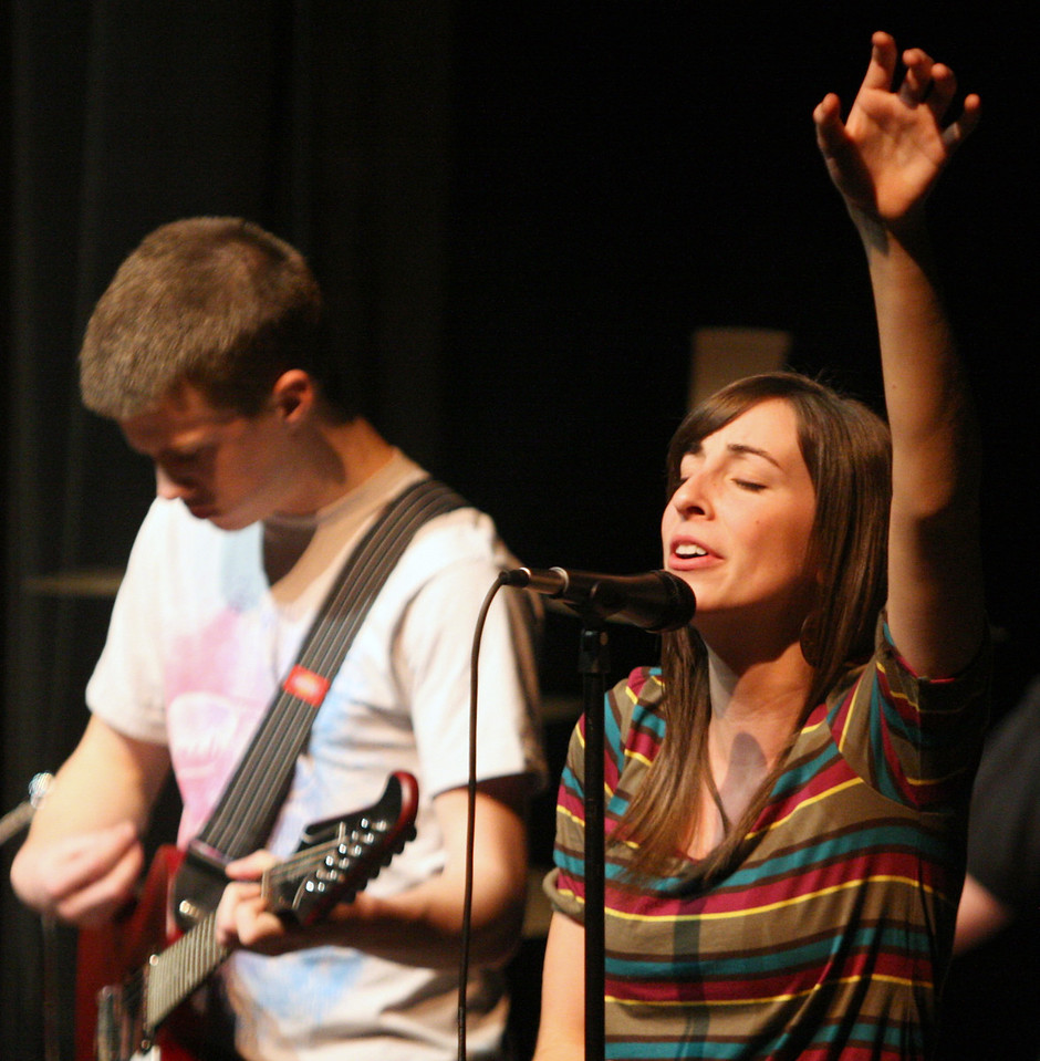 The Verge Band leads students in worship during the first service of the new year Tuesday night.