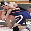 Ouch: Terre Haute South's Tsali Lough works over his opponent during Wednesday's North/South wrestling match.
