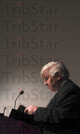 Tribune-Star/Joseph C. Garza<br /> Giving thanks for the dream: Rev. Don Mullen of First Congregational Church offers the invocation during the Martin Luther King, Jr., Day of Celebration Monday at Ivy Tech Community College.