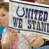 Fan: A West Vigo Elementary School student holds her poster during Tuesday's Colts P.R.I.D.E. event.